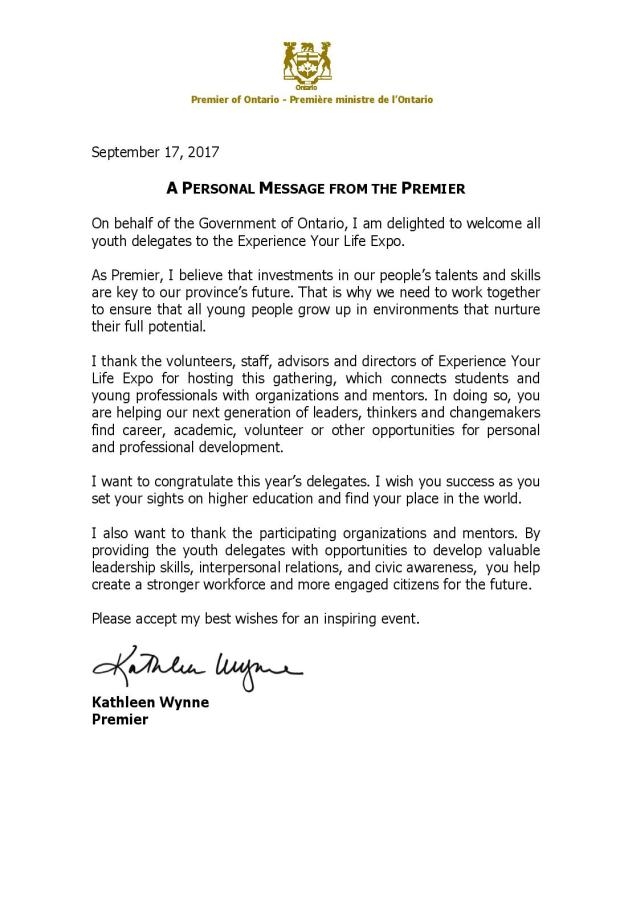 Greeting from Premier Kathleen Wynne for Expo attendees